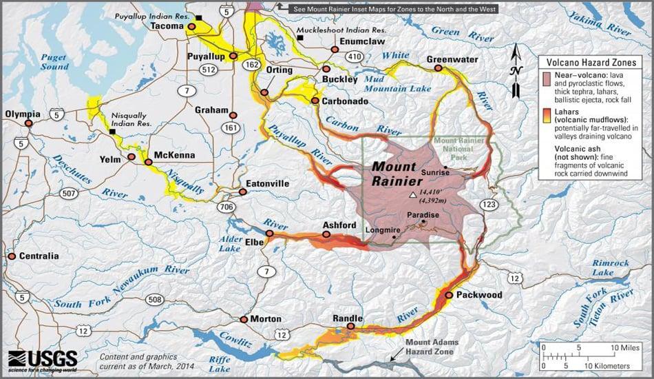 Map USGS Mt Rainier