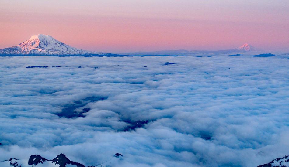 Mt Hood Mt Adams Sunrise