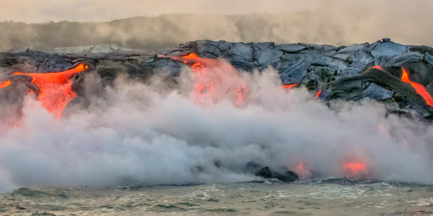 Lava Hitting Water Hawaii